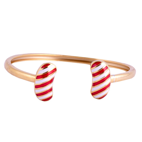 Red Stripe Jellybean Open Bangle