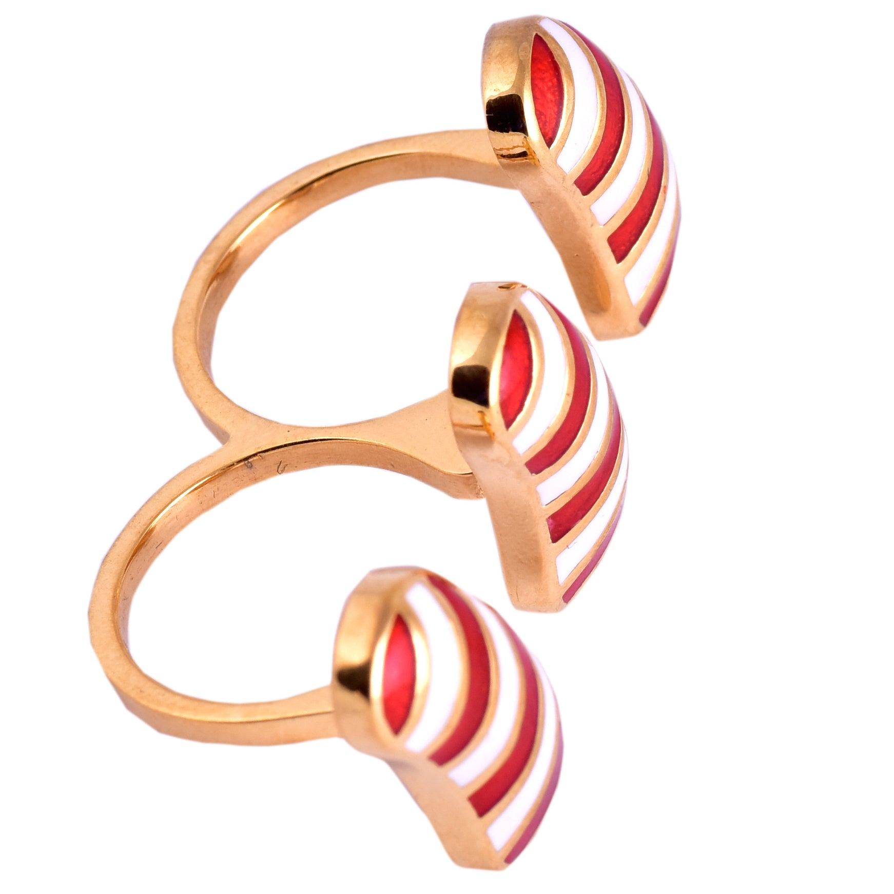Red Stripe Jellybean Double Finger Ring