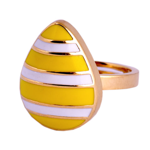 Yellow Stripped Lemon Drop Ring