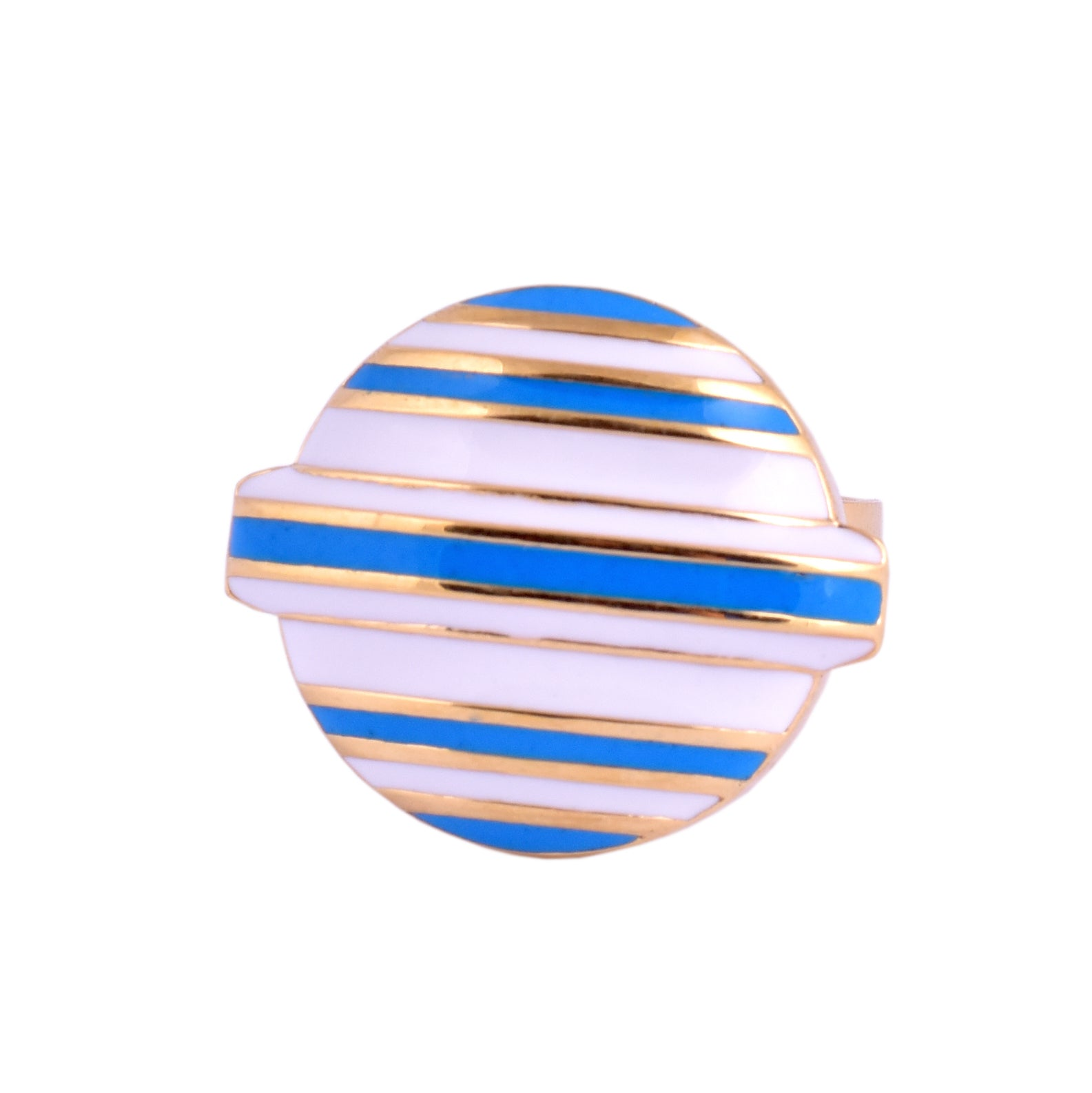 Blue Stripped Lollipop Head Candy Ring