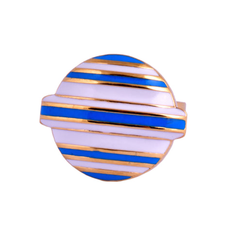 Blue Stripe Lollipop Head Brooch Pin
