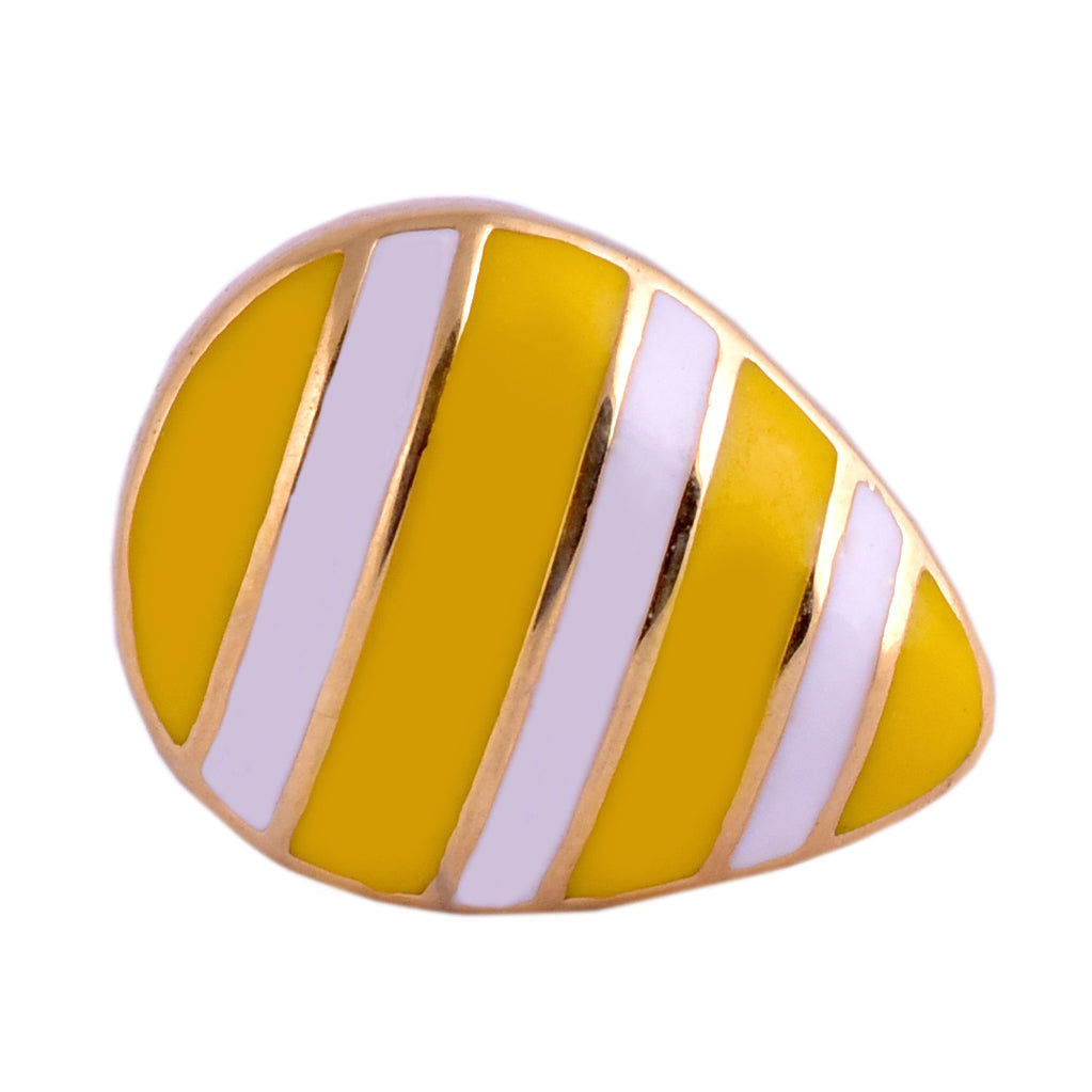 Yellow Stripe Lemon Drop Brooch Pin