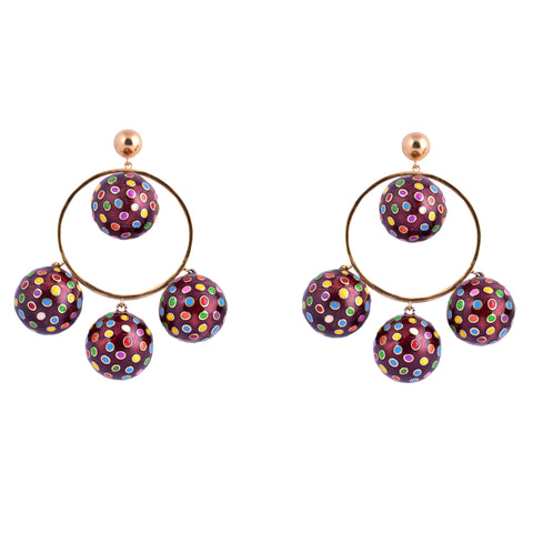 Purple Cluster 4 Candy Earrings