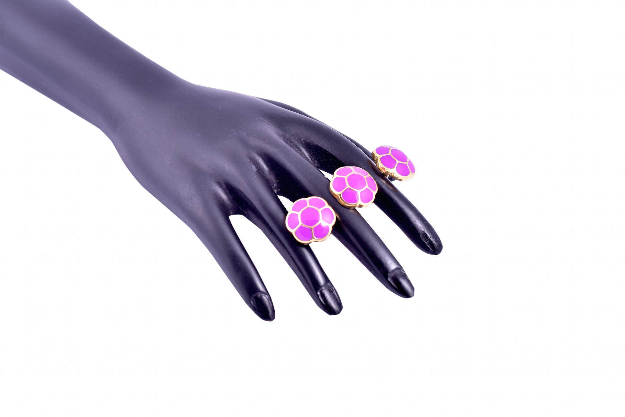 Purple Cluster Double Finger Ring