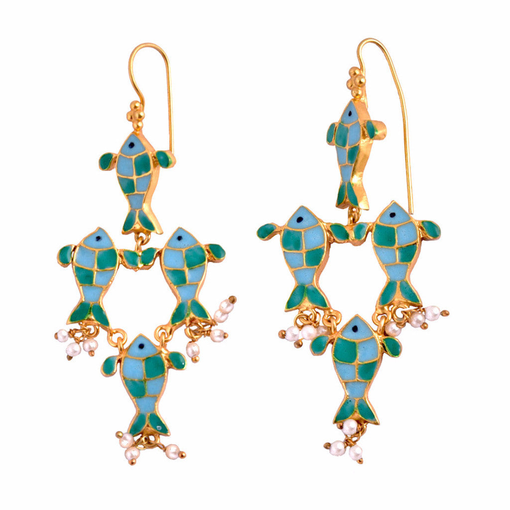 Phiroza Enamel Four FIsh Earring