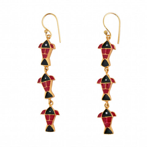 Enamel Firangi Paani Red & Black Fish Hoops
