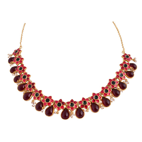 Enamel Firangi Paani Red & Black Necklace