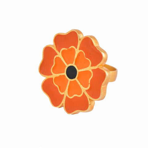 Marigold Enamel One Flower Ring