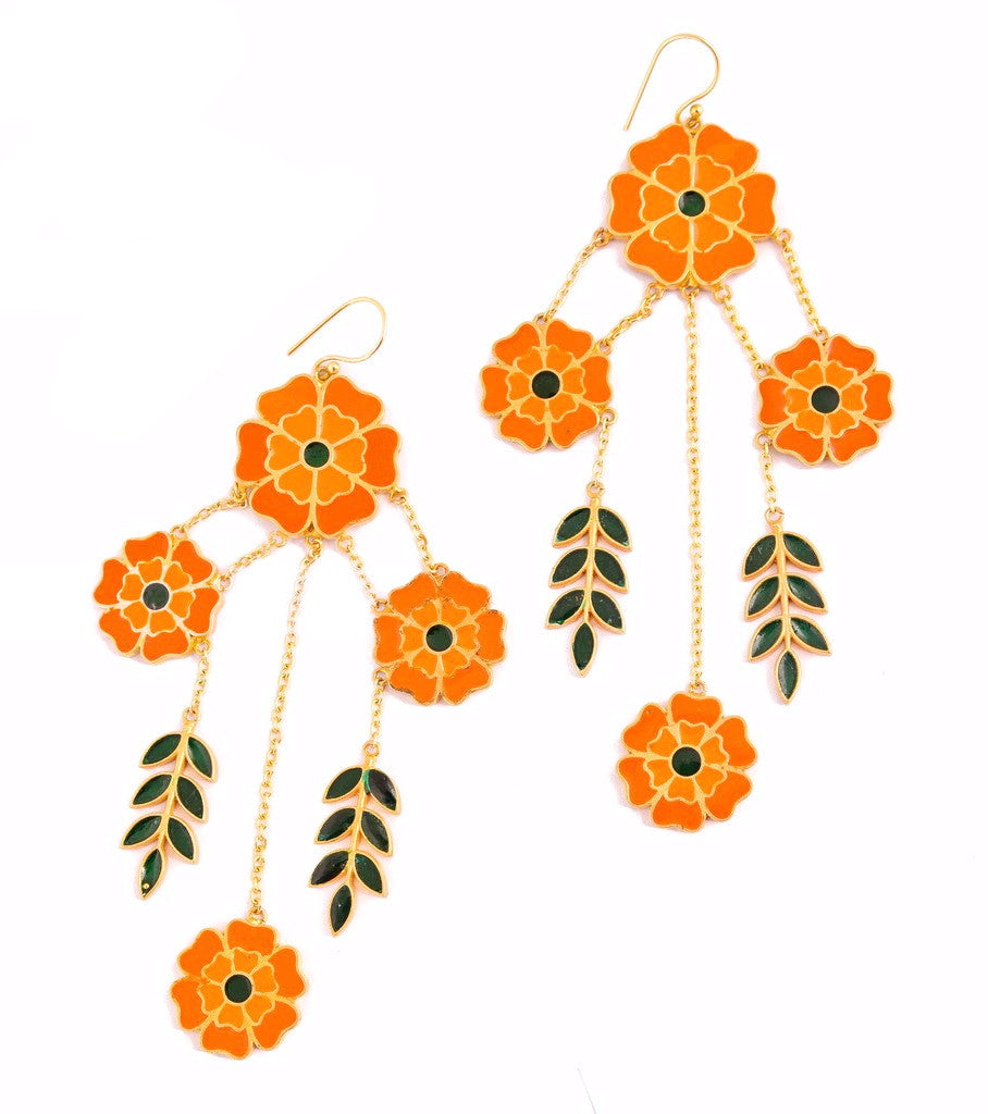 Marigold Enamel Four Flower Earring