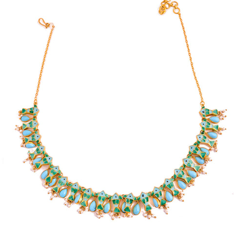 Phiroza Enamel Parrot Necklace