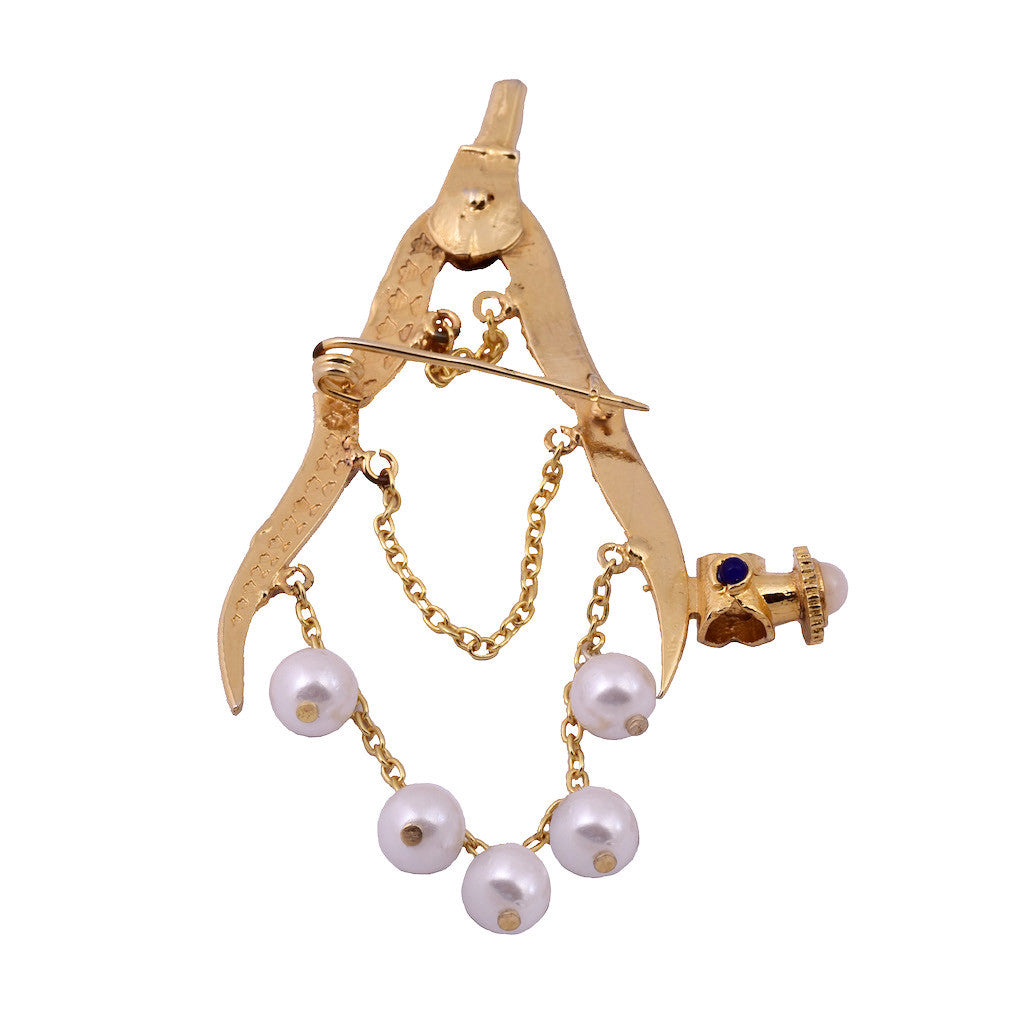 Mathematics Compass Pearl Brooch