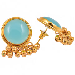 Blue Stone Ghungroo Earrings
