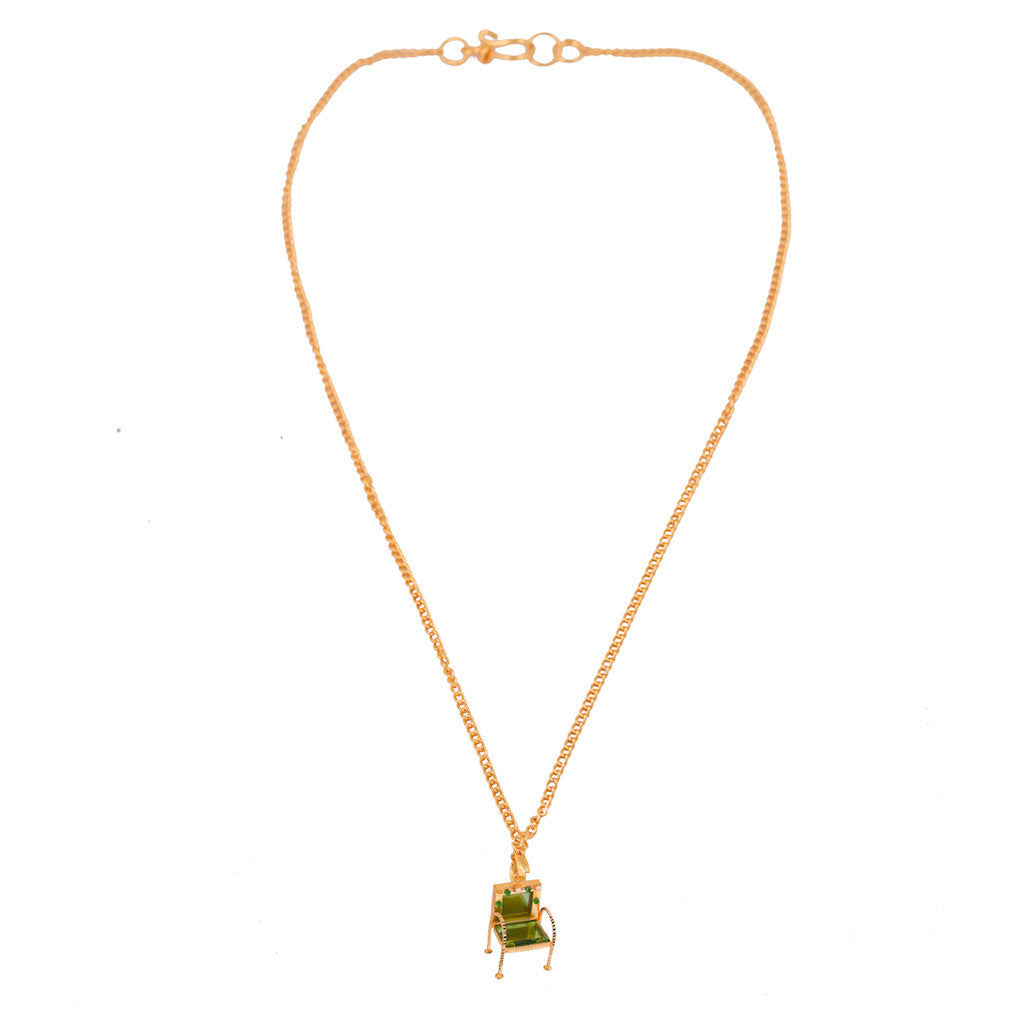 Please Have a Seat Chair Necklace - Green