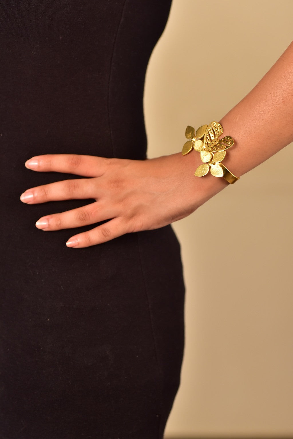 Gold Plated Butterfly Bangle