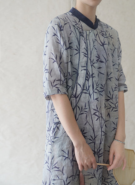Bamboo Print Cheongsam Dress