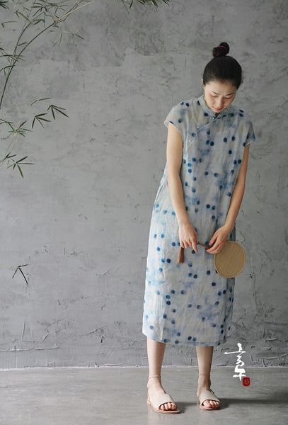 Blue Dot Print Cheongsam Dress