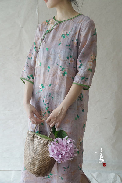 Camellia Cheongsam Dress (3/4 Sleeve)