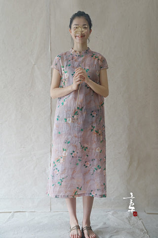 Camellia Cheongsam Dress (Short Sleeve)