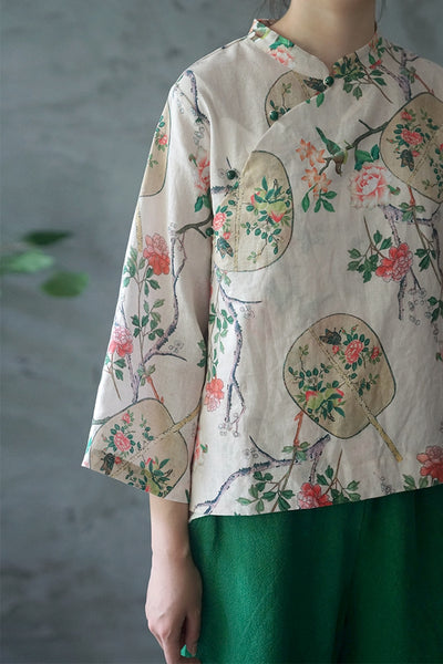 Floral Fan Cheongsam Top