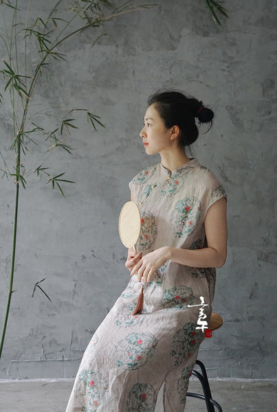 Floral Print Cheongsam Dress