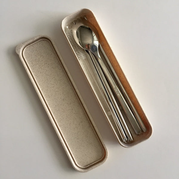 Stainless Steel Straw & Cutlery Set (Box) 不锈钢餐具盒装