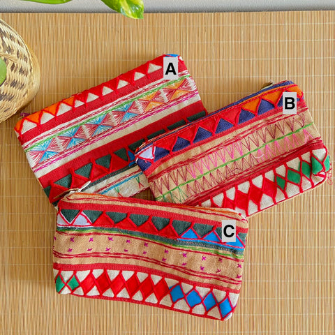 Hmong Embroidery Textile Pouch (L)