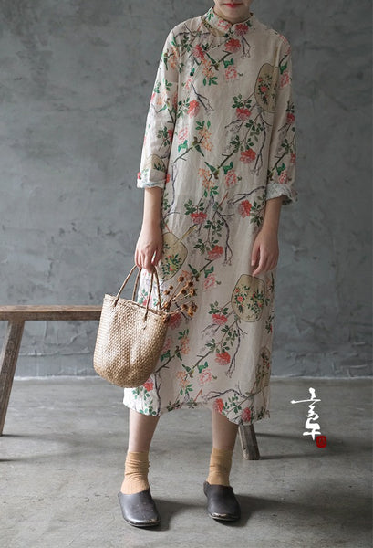 Floral Fan Cheongsam Dress (Long Sleeve)