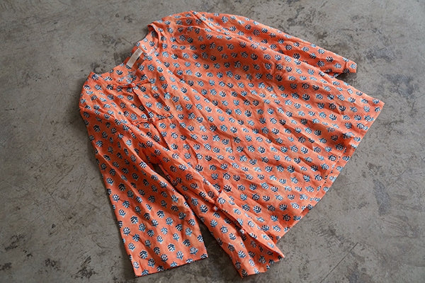 Orange Printed Cheongsam Top