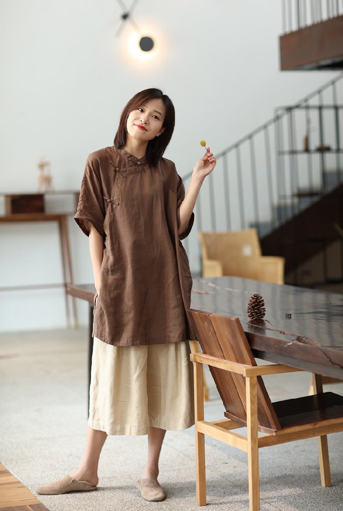 Simple Cheongsam Long Shirt