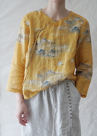 Yellow Crane Cheongsam Top