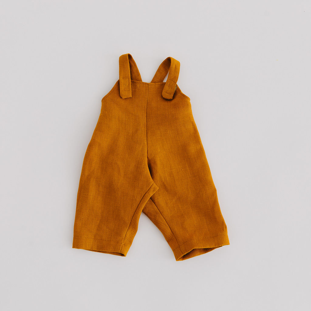 Mustard Linen Dolls Overalls - Pretty in Pine