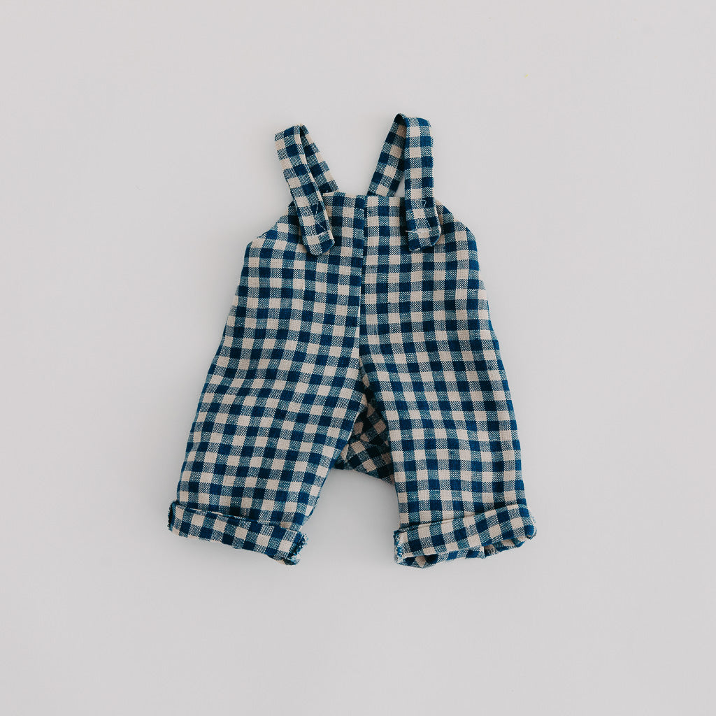 Blue Check Linen Dolls Overalls