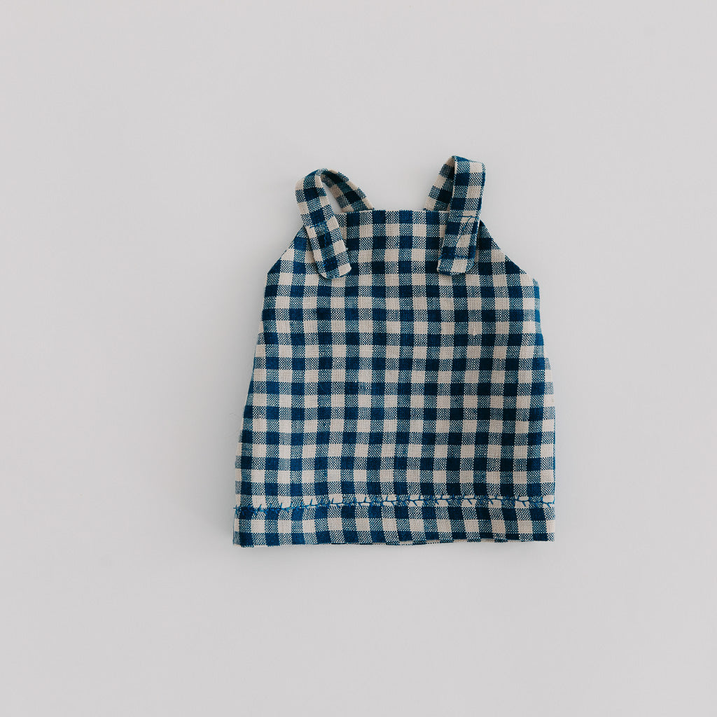 Blue Check Linen Dolls Overall Dress - Pretty in Pine