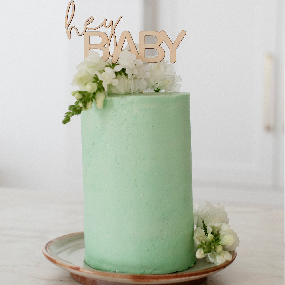 Hey Baby Cake Topper - Pretty in Pine