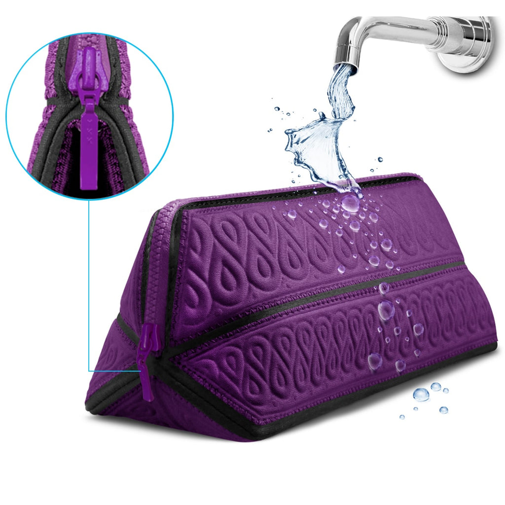 Metric USA Cosmetic Bag Small Makeup Bag Fits Longest Makeup Brushes Soft Travel Toiletry Clutch Case Pencil Case Water Repellent Premium Quality Portable Small Purse Organizer & Foldable Designer Pouch - Purple