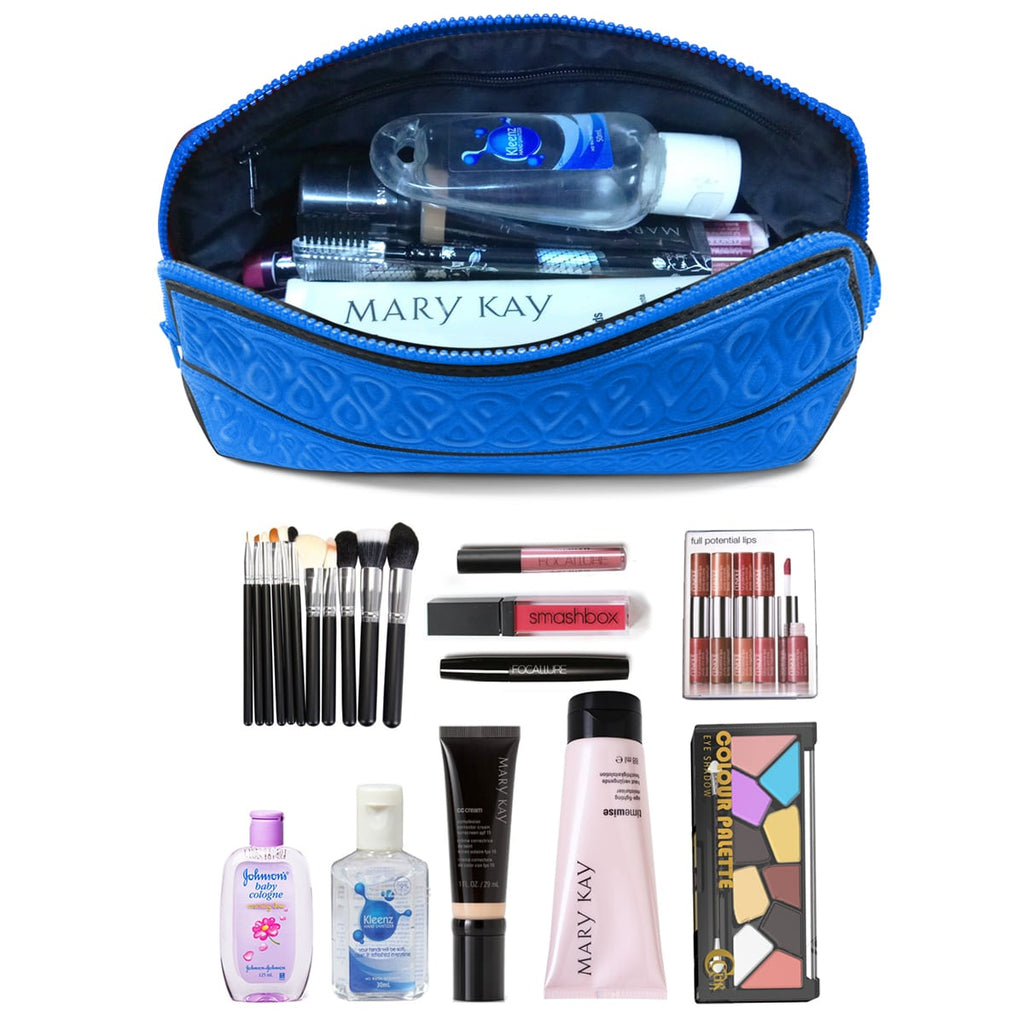 Metric USA Cosmetic Bag Small Makeup Bag Fits Longest Makeup Brushes Soft Travel Toiletry Clutch Case Pencil Case Water Repellent Premium Quality Portable Small Purse Organizer & Foldable Designer Pouch - Blue