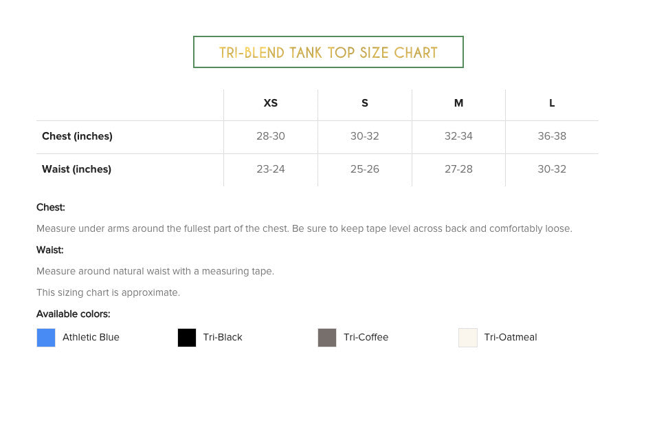 Cheeky Mint Tank Top Sizing Chart