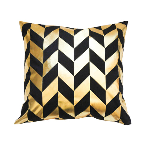 Geometric Black & Metallic Gold Pillow Cover