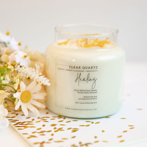 Candle Crystal Homewares Healing  Clear Quartz. Scent is Citrus, White Floral, Woods, Vanilla, Musk, Patchouli