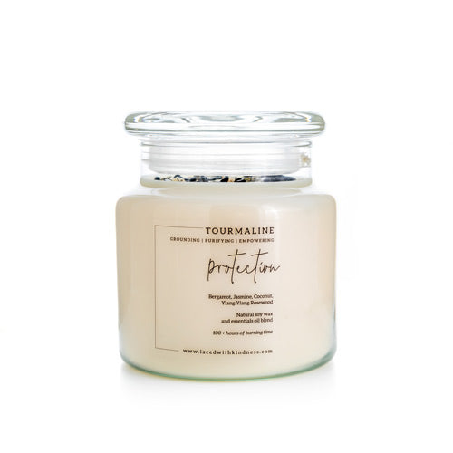 Candle Crystal Homewares Protection  Tourmaline. Scent is BErgamont, Jasmine, coconut, Ylang Ylang, Rosewood.  Beautiful Soy Wax Candle in Glass Jar with Lid front facing on white background