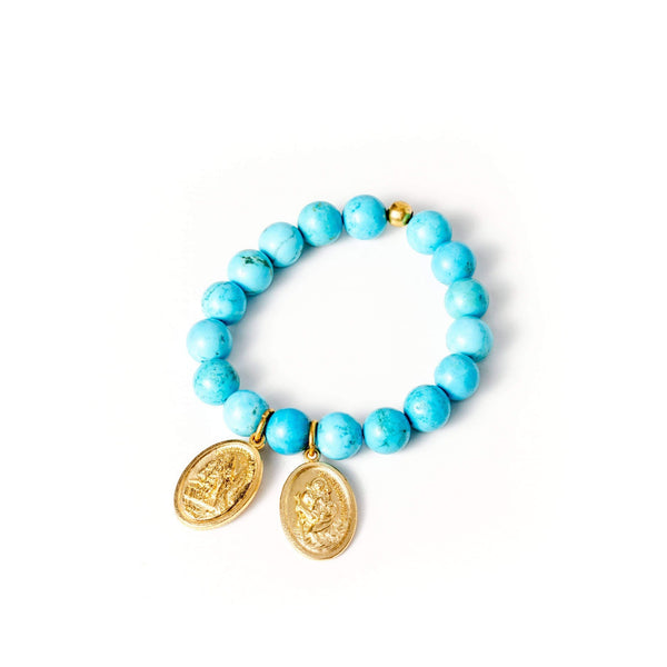 crystal-jewellery-for-gifts BRACELET GOLD | BLUE HOWLITE