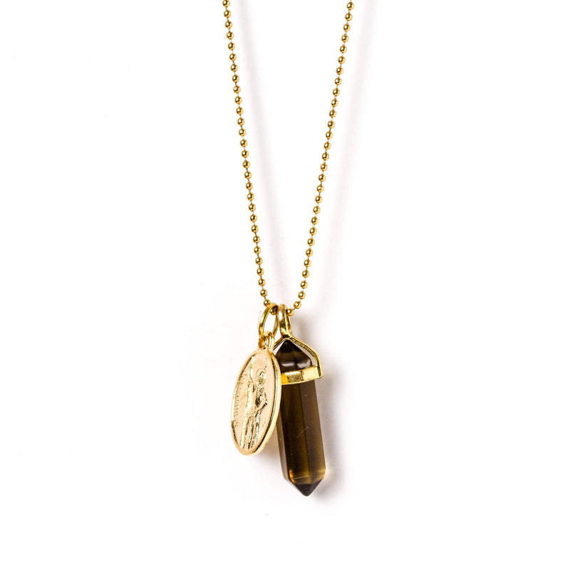 crystal-jewellery-for-gifts PENDANT NECKLACE GOLD | SMOKEY QUARTZ