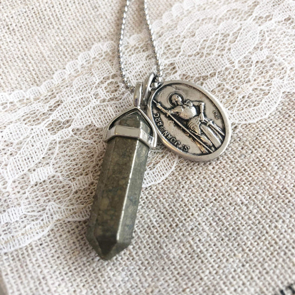crystal-jewellery-for-gifts PENDANT NECKLACE SILVER | PYRITE