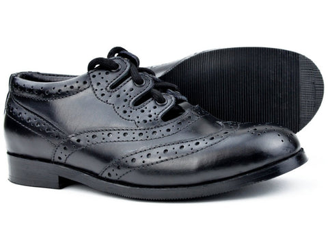 Kids Black Leather Ghillie Brogues