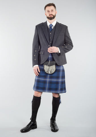 Persevere Thistle Blue Braemar Kilt Outfit