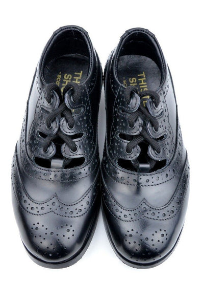 Boys Luxury Black Leather Ghillie Brogues - Front