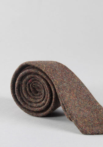Slim Fit Brown Tweed Neck Tie