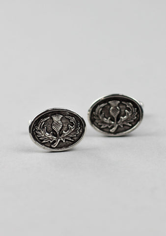 Oval Scottish Thistle Pewter Cufflinks