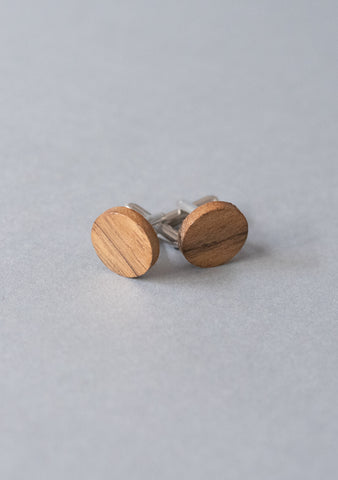 Round Amazaque Wooden Cufflinks