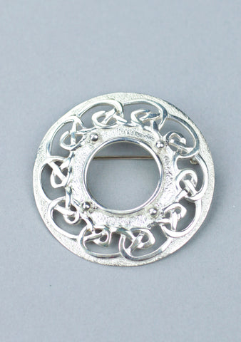 Silver Knotwork Plaid Brooch